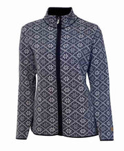 Women's zipped cardigan in nordic pattern by Ivanhoe of Sweden in Navy