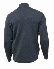 Back of a two toned grey and black zipped sweater from Ivanhoe of Sweden