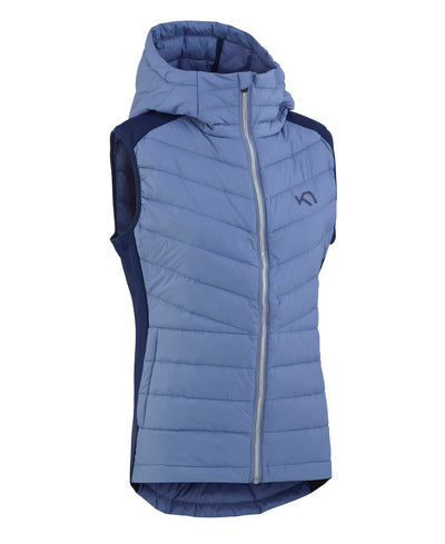 Eva hybrid Vest with shiny zipper and a hood in denim blue