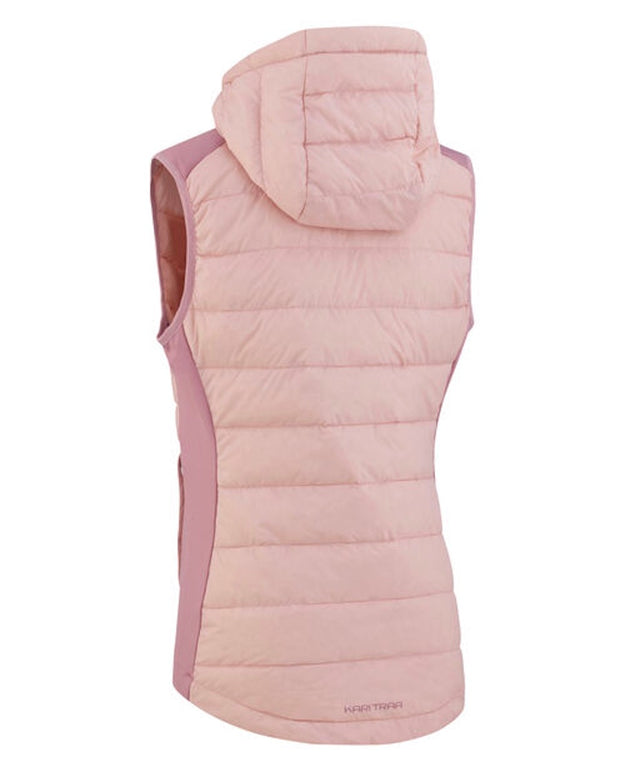 Eva hybrid Vest with shiny zipper and a hood in pale pink rear view