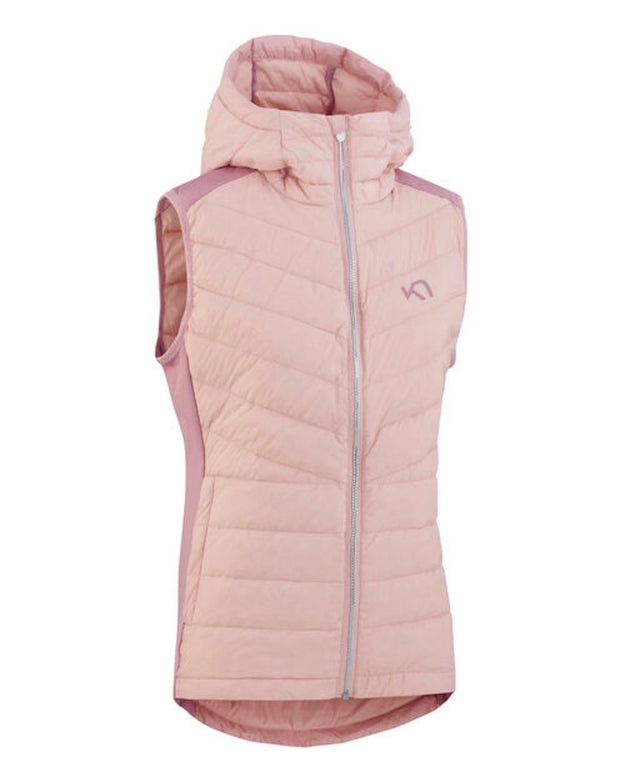 Eva hybrid Vest with shiny zipper and a hood in pale pink