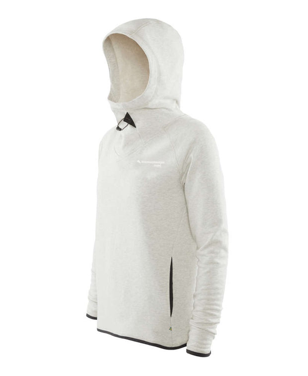 back view of women's falen hoodie by klattermusen in melange white available at aktiv