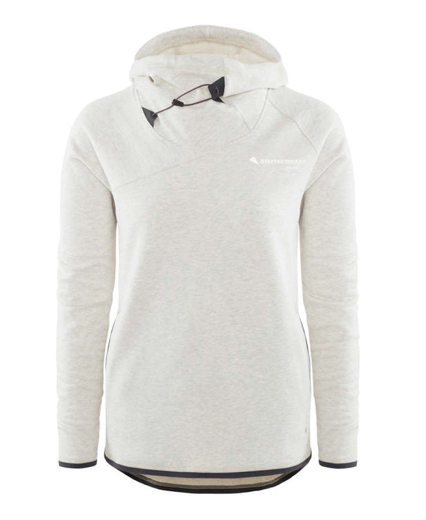 front view of women's falen hoodie by klattermusen in melange white available at aktiv