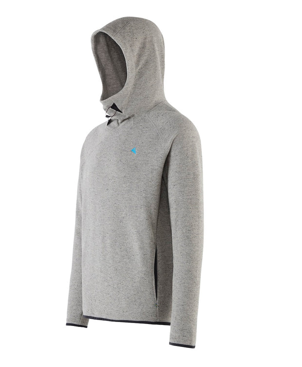 3/4 view of men's falen wooly hoodie by klattermusen in dark moon grey available at aktiv