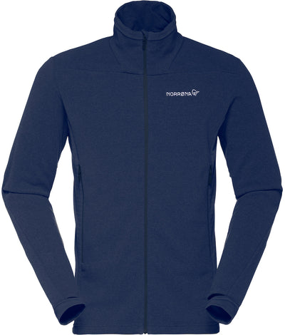 Sapphire blue fleece jacket mid-layer with three pockets perfect for cool weather