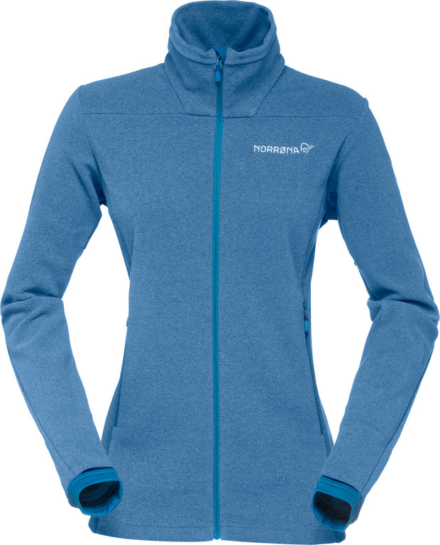Beautiful blue fleece Polartec jacket with integrated hand gaiters and three zippered pockets