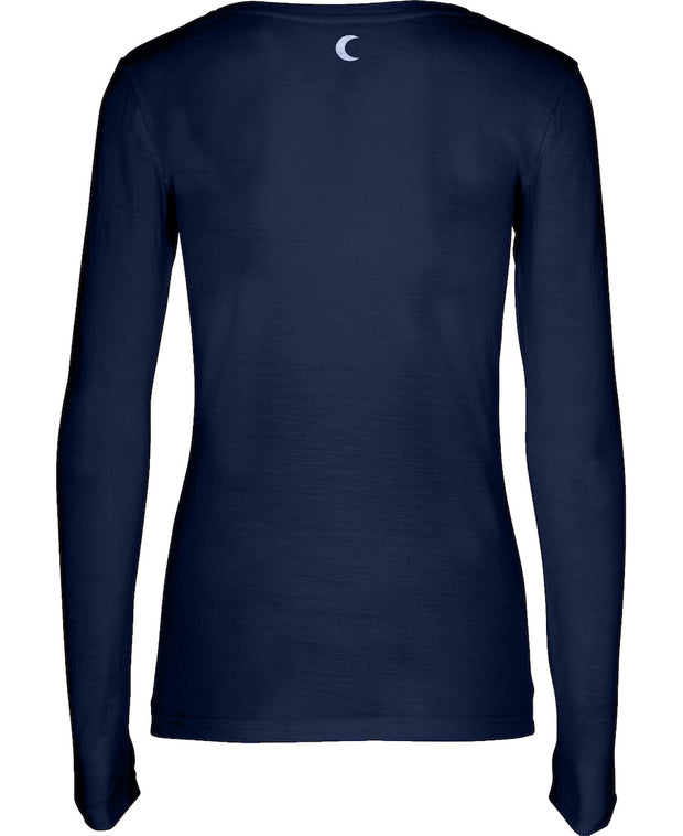 Dark Blue Thin Long Sleeve Favorite Shirt in Organic Cotton with Elastane Everyday wear Back Peace Logo by Moonchild for Aktiv