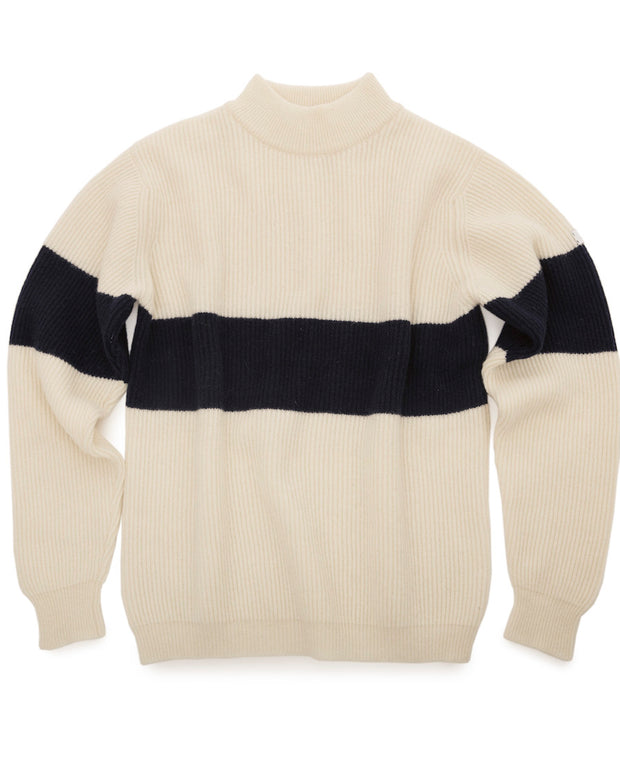 White striped Merino wool sweater
