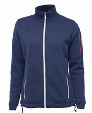 Womens Zippered wool blue windbreaker with zippered pockets by Ivanhoe of Sweden for Aktiv for Outdoor us