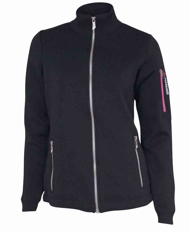 Zippered wool black windbreaker with several pockets and cinching for sizing.