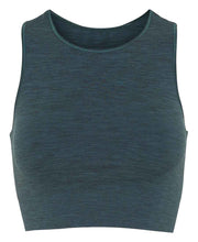 seamless crop top in forest green by moonchild yoga wear for aktiv scandinavian athleisure front view
