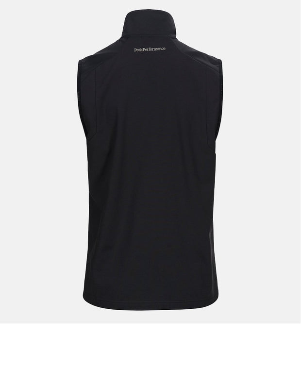 Back view of  Dark Gray men's Ace golf vest with Peak Performance written out at base of neck