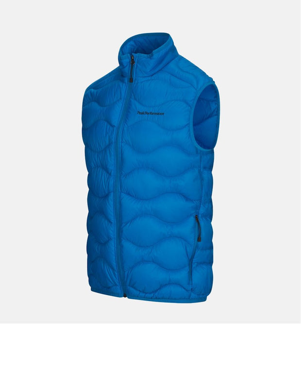 3/4 Front view of Light Blue vest for Men with Peak Performance written in black on upper left chest