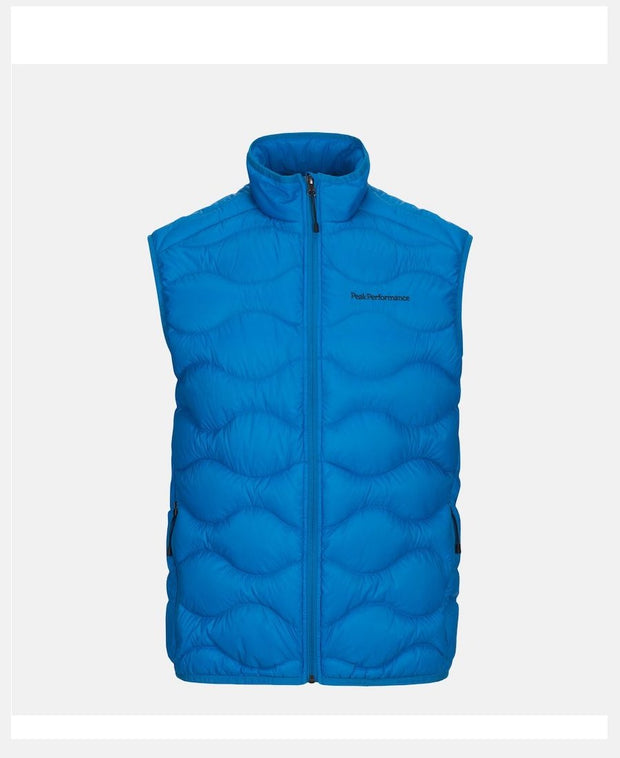 Light Blue vest for Men with Peak Performance written in black on upper left chest