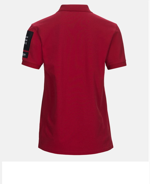 Rear view of intense red men's polo shirt