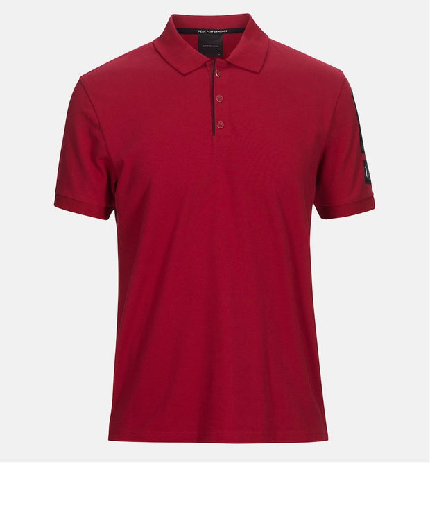 Front view of Intense Red Polo Shirt that is a mix of Cotton with a bit of elastane for stretch