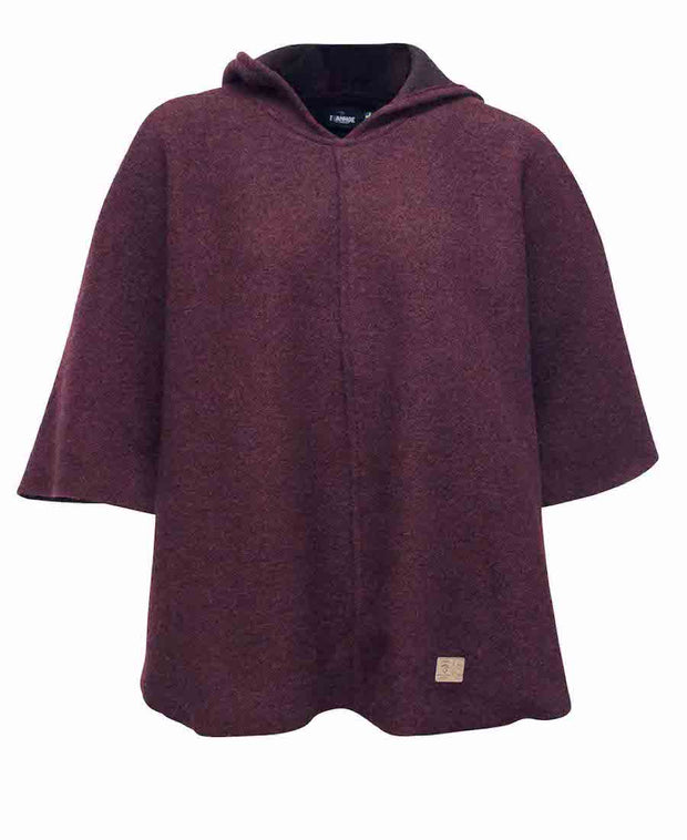 Wine colored Womens Poncho by Ivanhoe of Sweden for Aktiv for wearing outside with a hood.