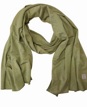 Olive 100% extra fine merino wool thin scarf by Ivanhoe of Sweden for Aktiv