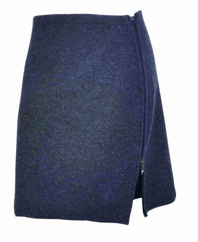 Knee-length skirt with an inverted zipper on the left side by Ivanhoe of Sweden for Aktiv in Light Navy.