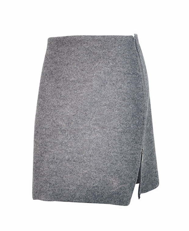 Knee-length skirt with an inverted zipper on the left side by Ivanhoe of Sweden for Aktiv in Gray.