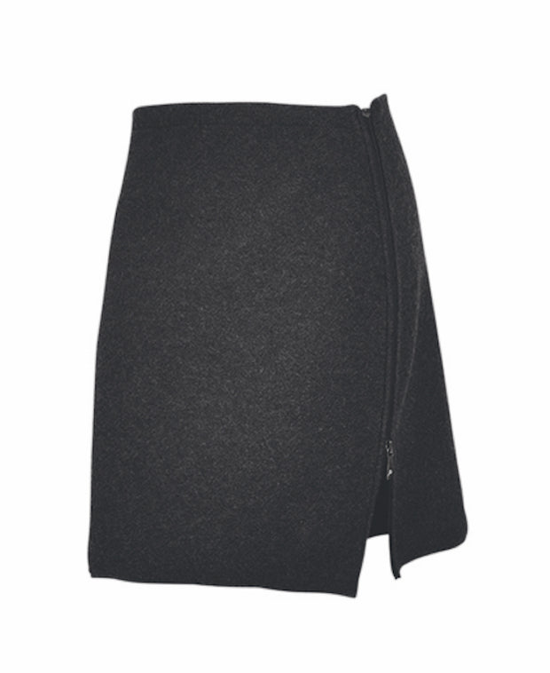 Knee-length skirt with an inverted zipper on the left side by Ivanhoe of Sweden for Aktiv in Black.
