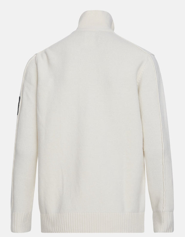 Back of White buttoned sweater for men by Peak Performance
