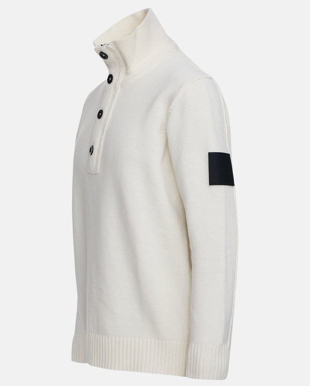 Side view of White buttoned sweater for men by Peak Performance