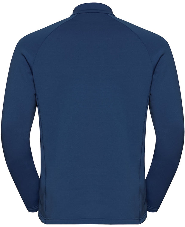 Blue Half Zip midlayer with a mountain design on the front back view