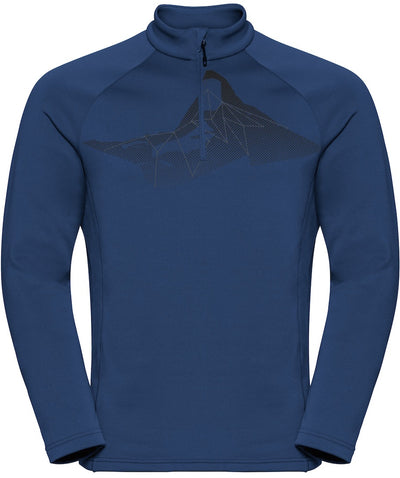 Blue Half Zip midlayer with a mountain design on the front