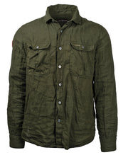Olive green linen button shirt for men by Amundsen Sports