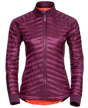 Front view of puffy women's purple jacket by Odlo