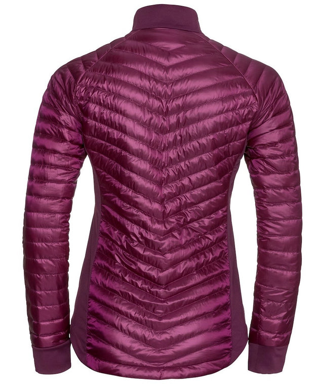 Back view of puffy women's purple jacket by Odlo