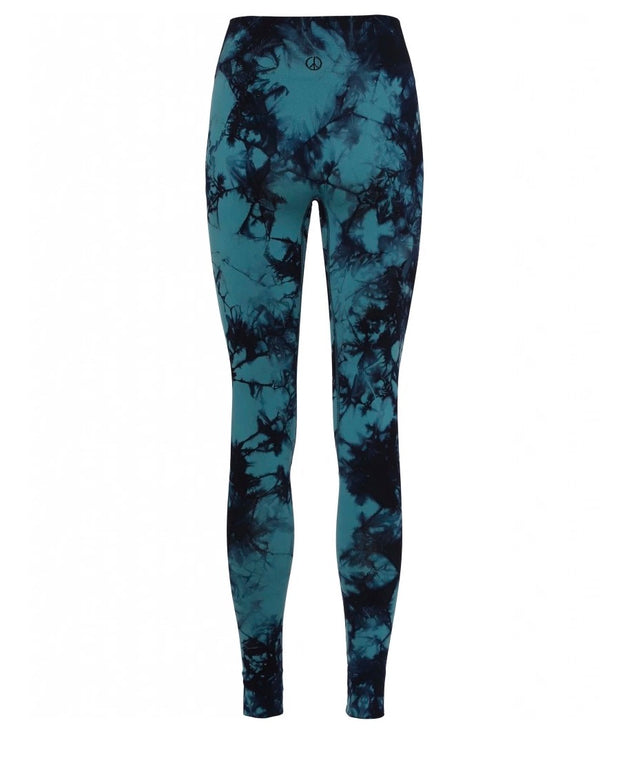 Illusion Leggings in Aura and Britney Blue in Recycled Fibers for Yoga Rear View with Moonchild Peace Logo