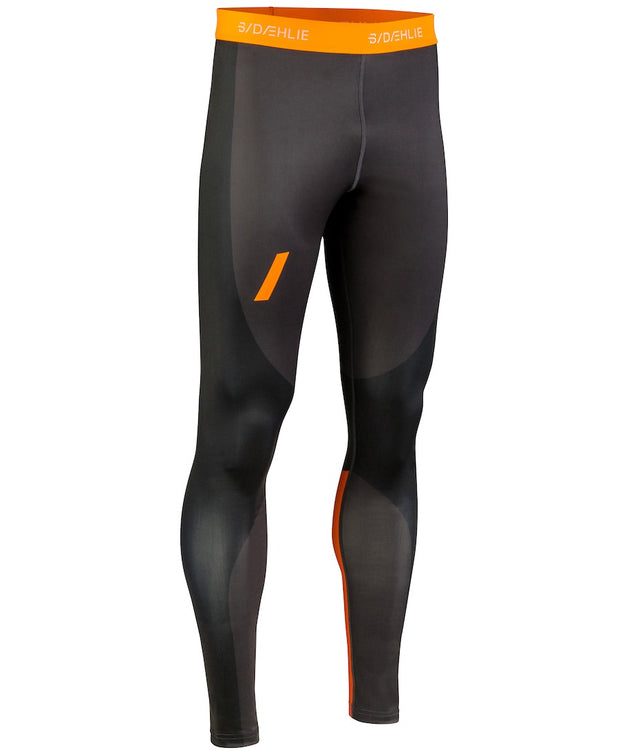 Black tights with orange accents for men by Daehlie