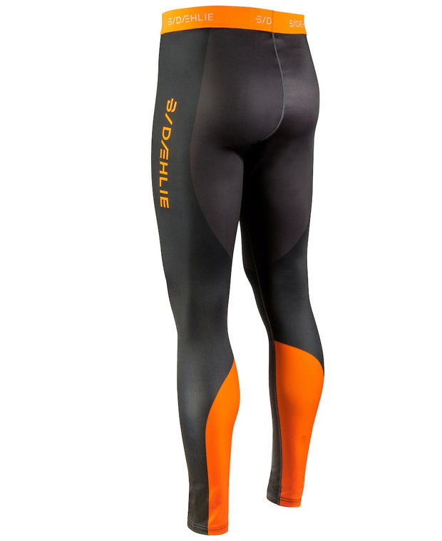 Black tights with orange accents for men by Daehlie back view