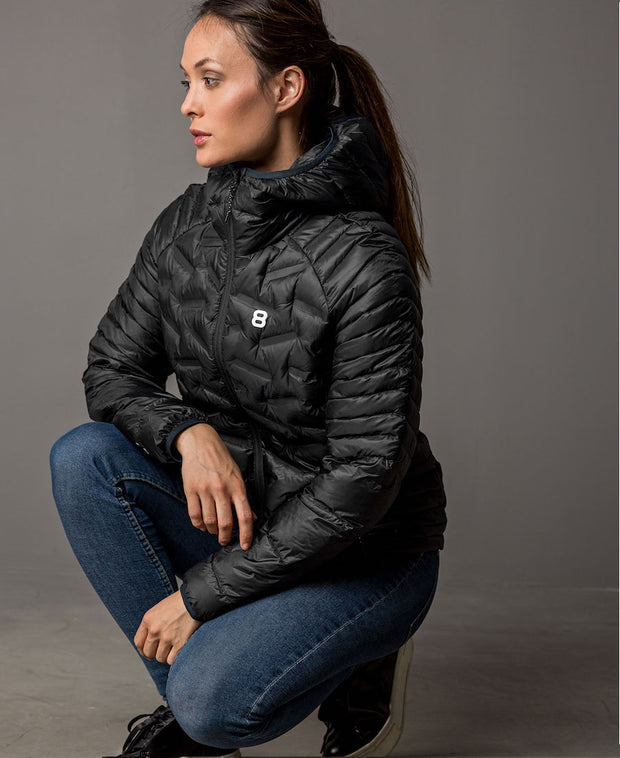 Lara Liner Black Lightweight Down Jacket Womens Outdoor Clothing by 8848 Altitude for women on model frontview