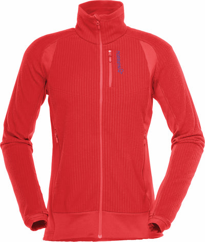 Bright crisp ruby red fleece jacket with blue Norrona writing at left breast zip pocket front