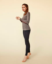 model wearing lovely bamboo long sleeve shirt by moonchild yoga wear for aktiv scandinavian athleisure