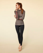 model laughing in lovely bamboo long sleeve shirt by moonchild yoga wear for aktiv scandinavian athleisure