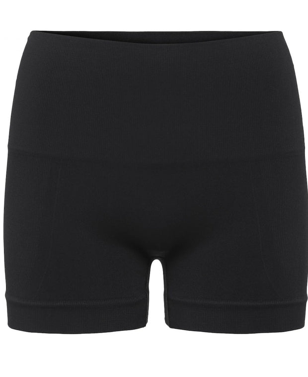 Lux Yoga shorts perfect for hot yoga- front view in Onyx Black