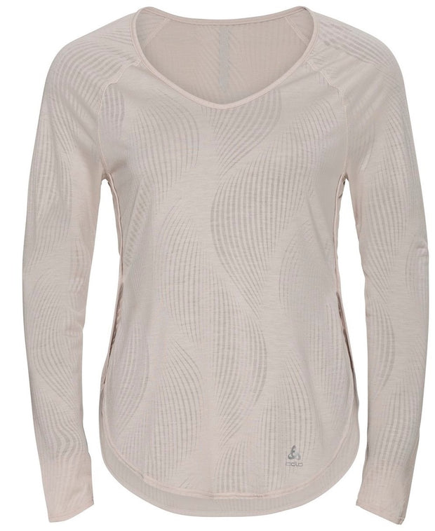 Thin long sleeve running shirt for women in silver front view