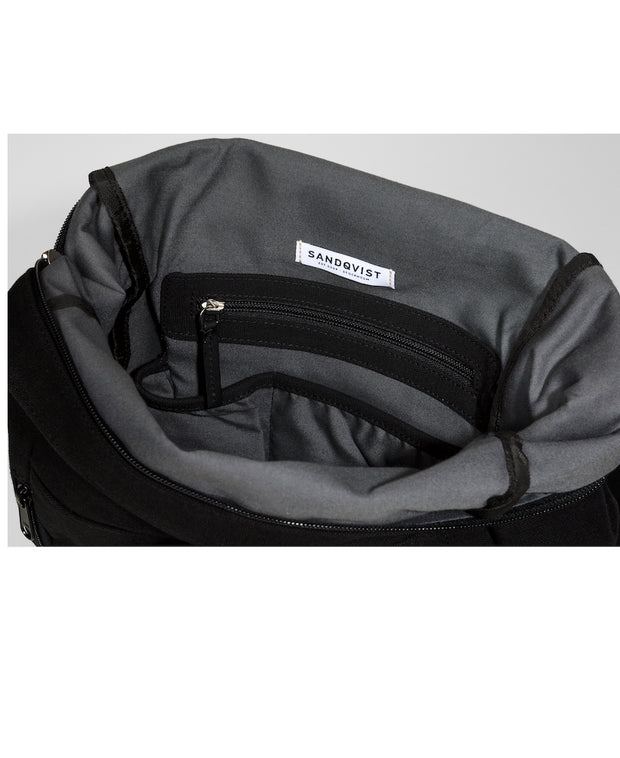 Marius Black backpack with black leather trim and two exterior zippers interior view