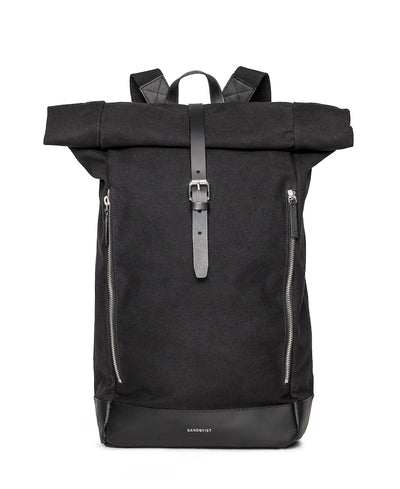 Marius Black backpack with black leather trim and two exterior zippers