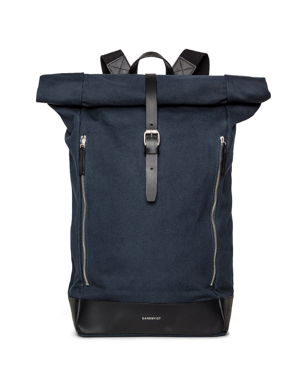 Marius Navy backpack with black leather trim and two exterior zippers
