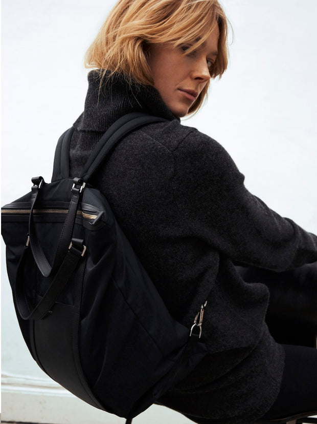 Marta Black Yoga Bag and Backpack by Sandqvist of Stockholm on Model