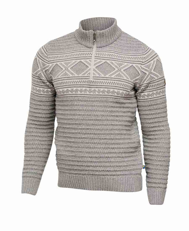 Gray zip Sweater with Nordic stylings and texture by Ivanhoe of Sweden for Aktiv. Fitted look is great for the office or going out to dinner.