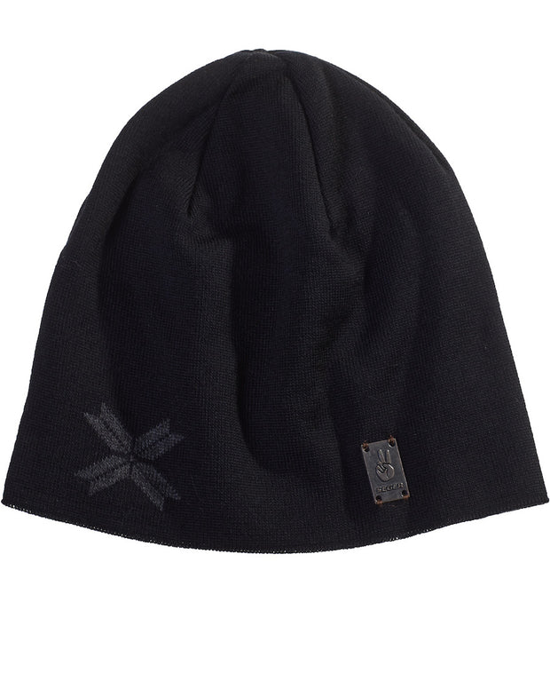 Modern Star Beanie in Black with 8 point star in Charcoal Outdoor Use