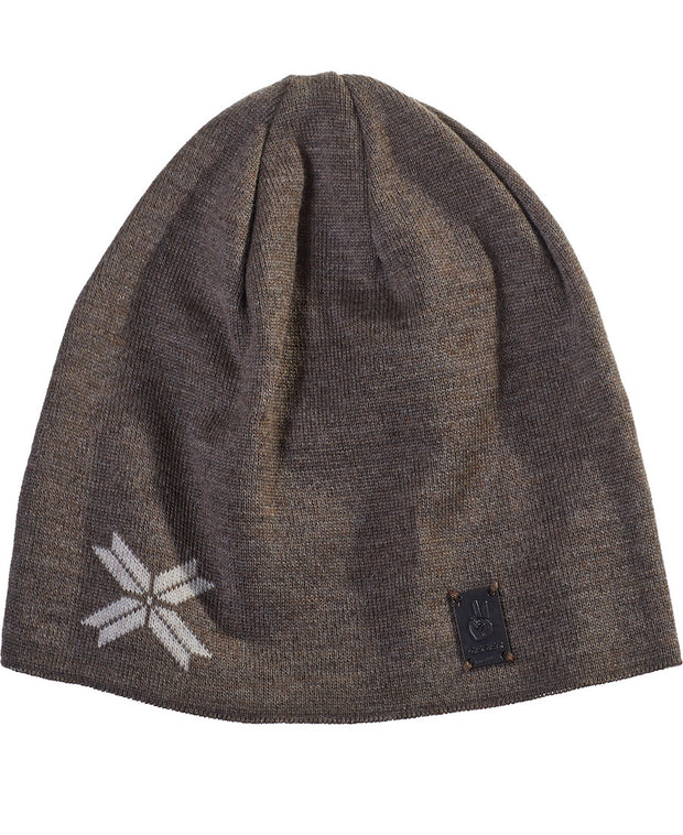 Modern Star Beanie in Bark Brown with 8 point star in Oatmeal Outdoor Use