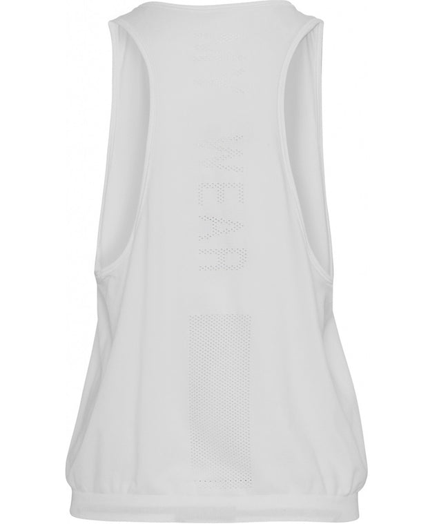 Back view of white tank top by Moonchild Yoga Wear