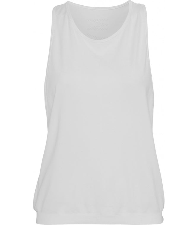 Front view of white tank top by Moonchild Yoga Wear